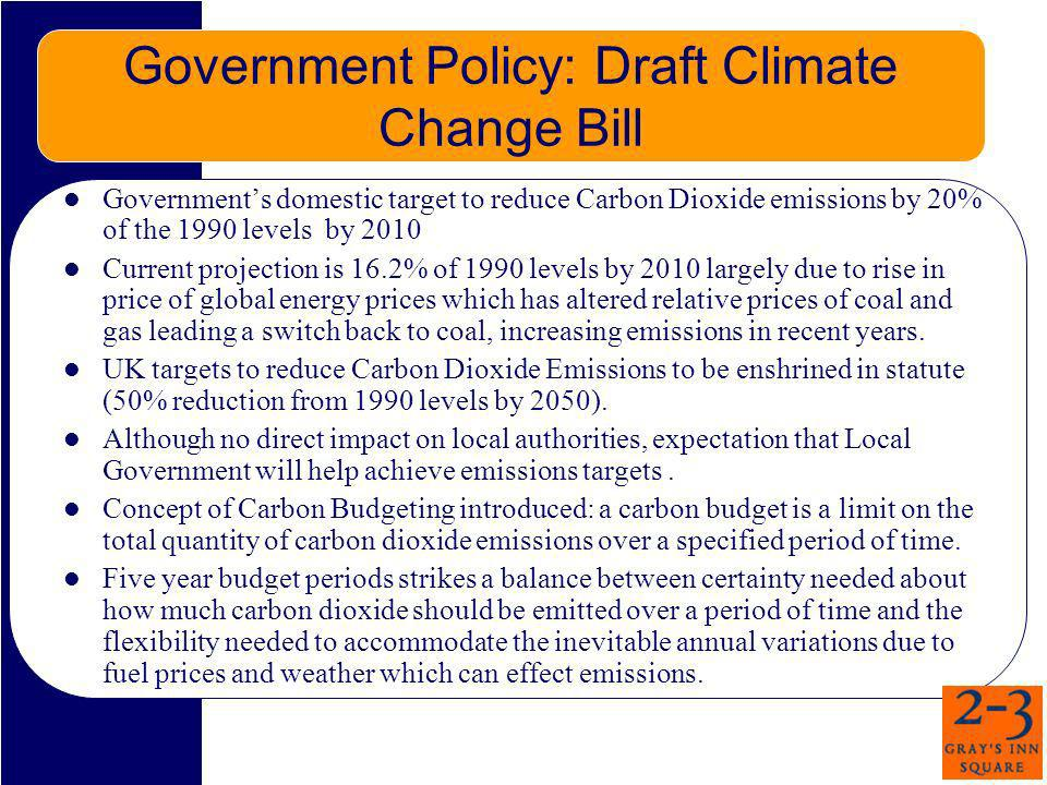 Government Policy: Draft Climate Change Bill