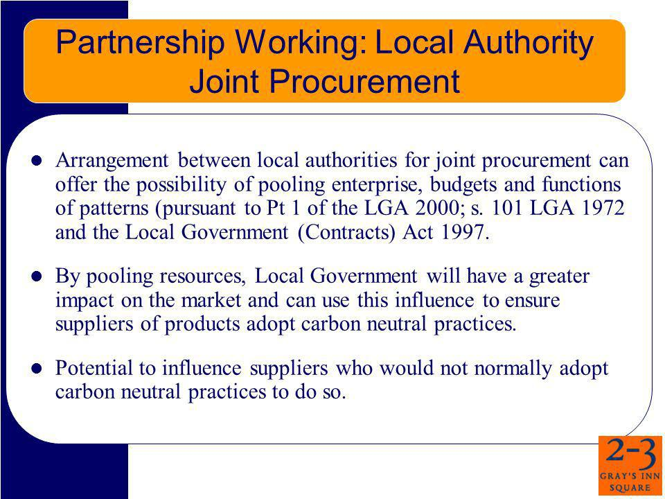 Partnership Working: Local Authority Joint Procurement