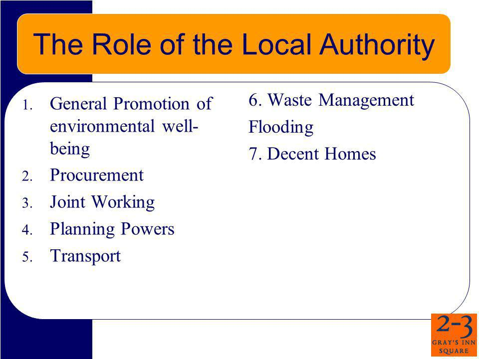 The Role of the Local Authority