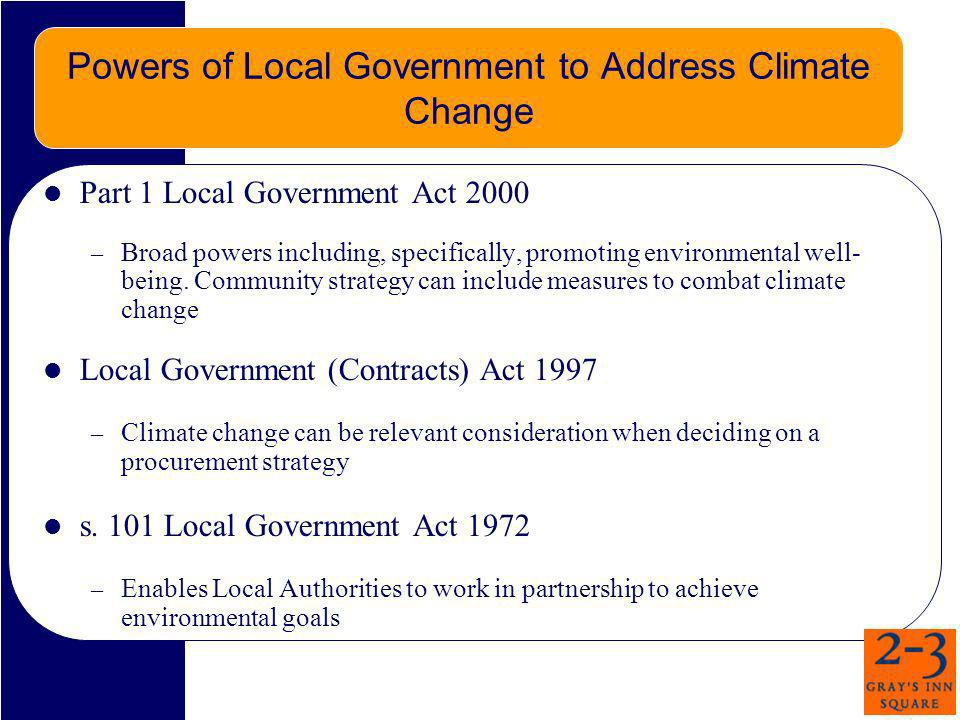 Powers of Local Government to Address Climate Change