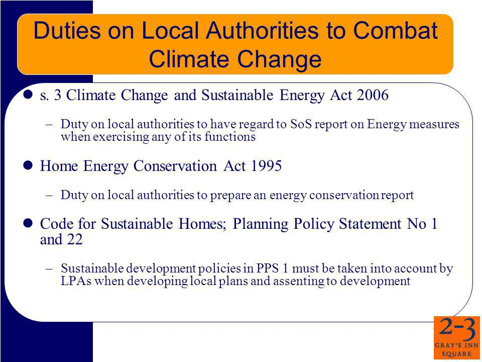 Duties on Local Authorities to Combat Climate Change