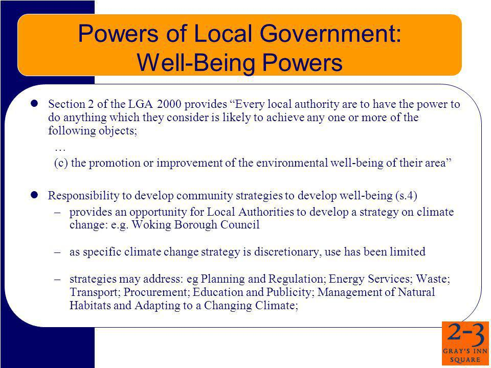 Powers of Local Government: Well-Being Powers