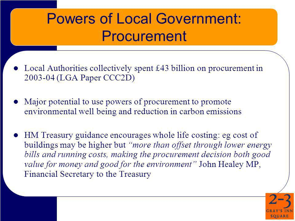 Powers of Local Government: Procurement