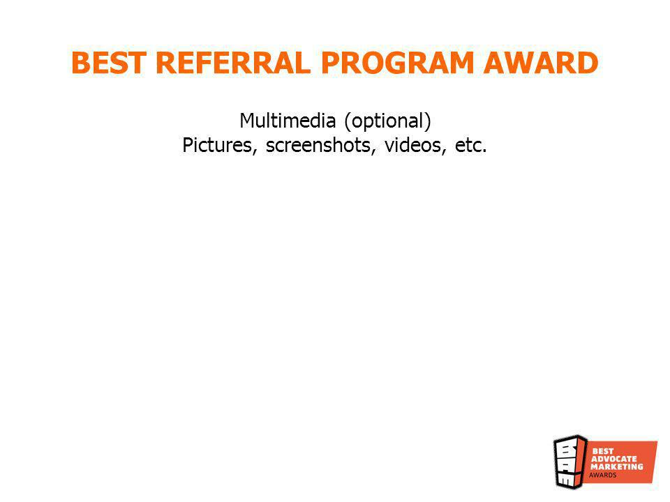 BEST REFERRAL PROGRAM AWARD