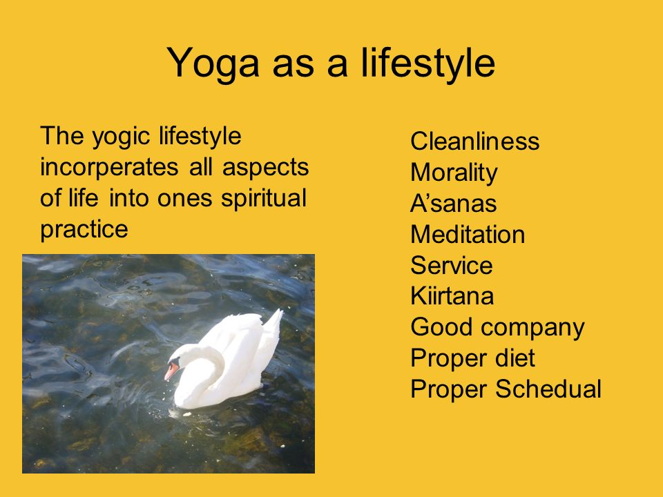 Yoga as a lifestyle The yogic lifestyle incorperates all aspects of life into ones spiritual practice.