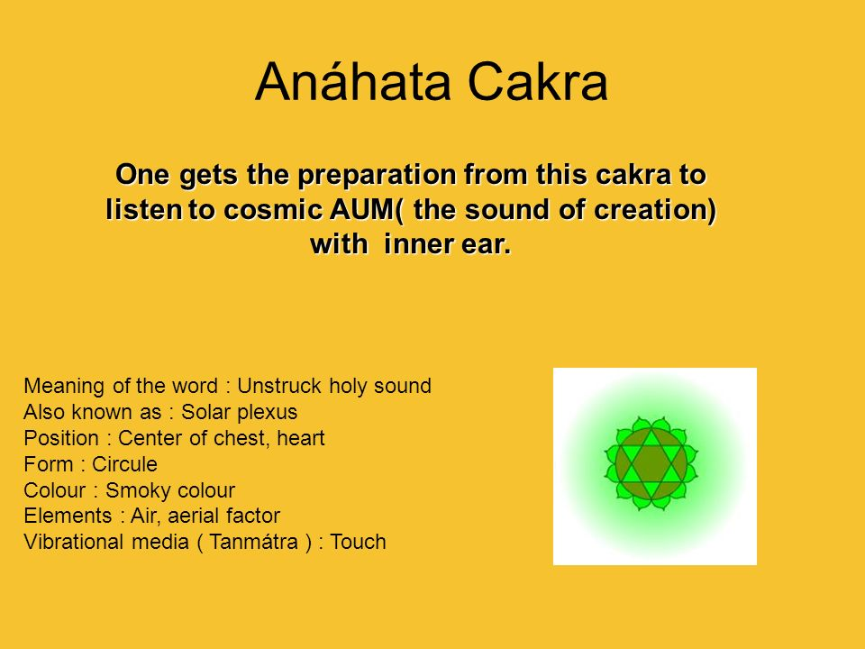 Anáhata Cakra One gets the preparation from this cakra to listen to cosmic AUM( the sound of creation) with inner ear.