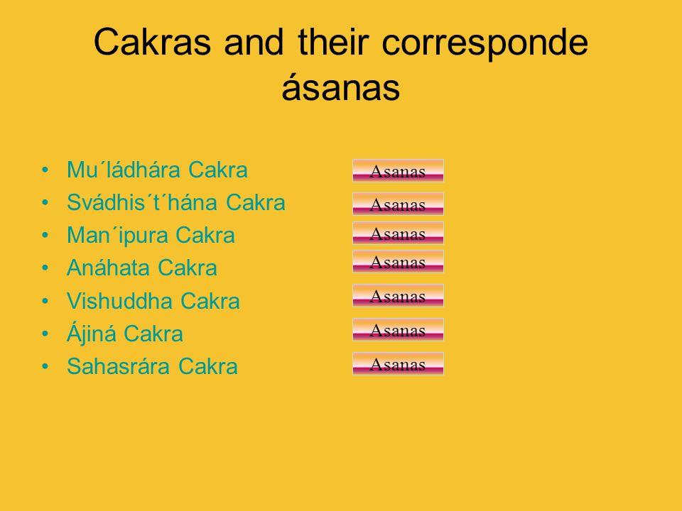 Cakras and their corresponde ásanas