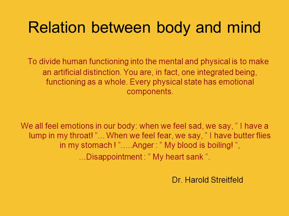 Relation between body and mind