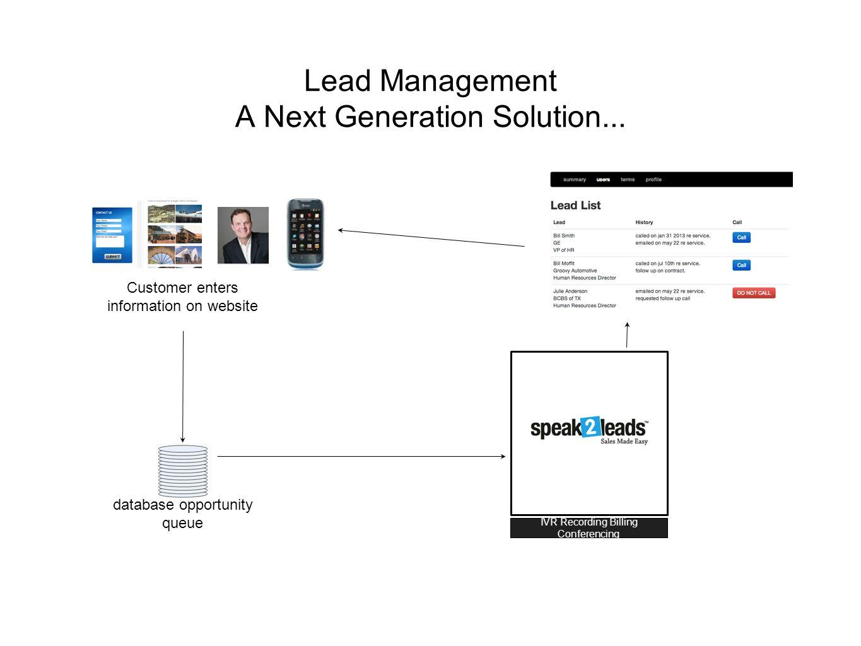 Lead Management A Next Generation Solution...