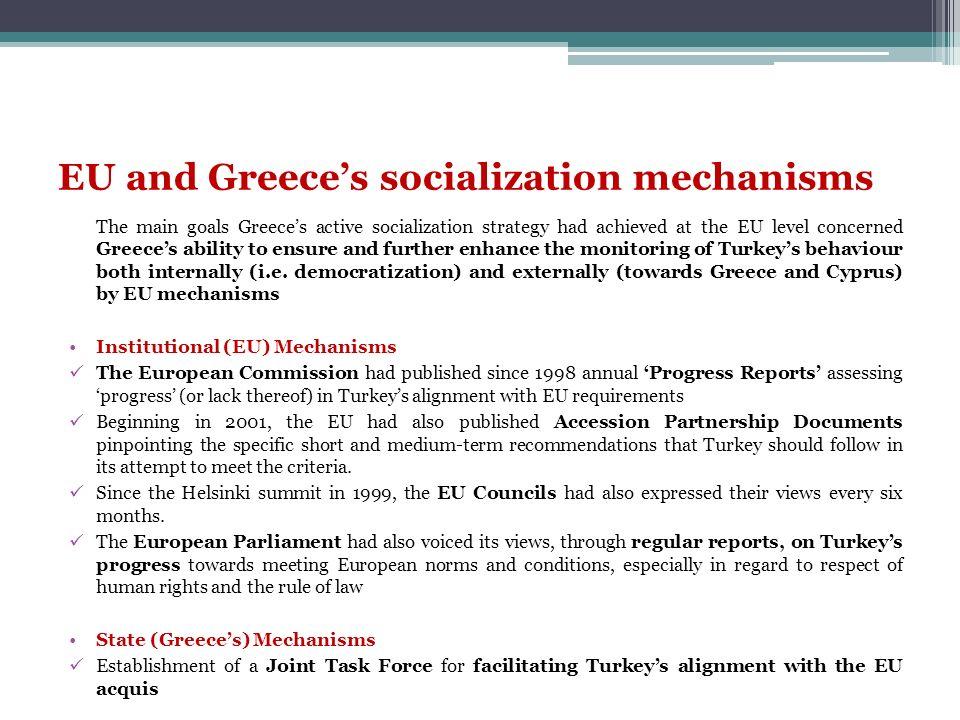 EU and Greece's socialization mechanisms