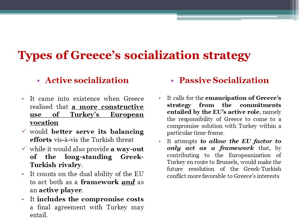 Types of Greece's socialization strategy
