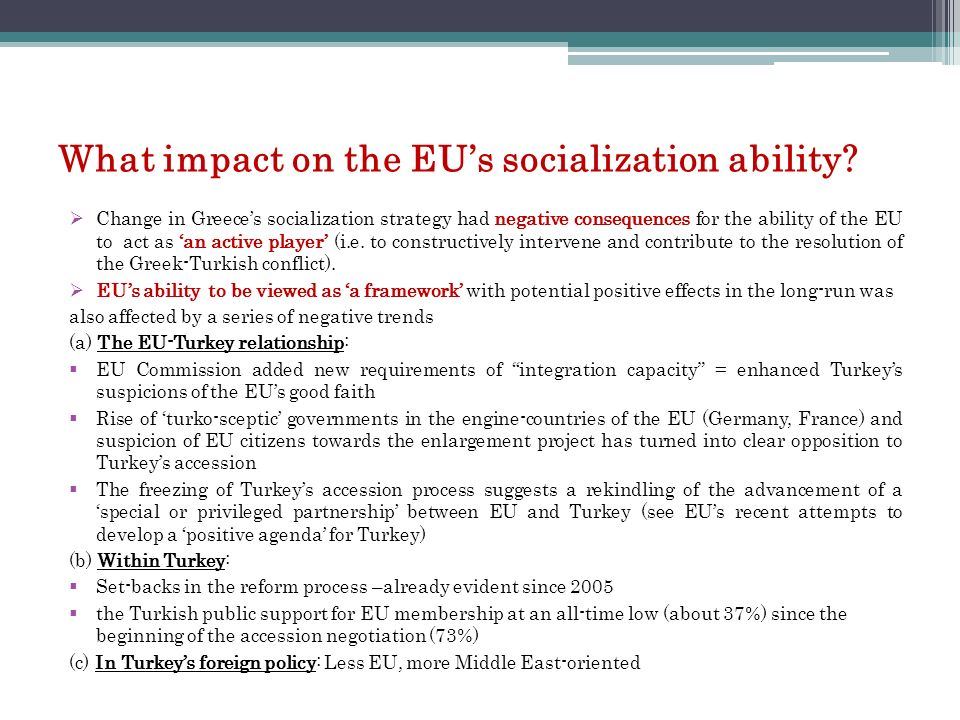 What impact on the EU's socialization ability