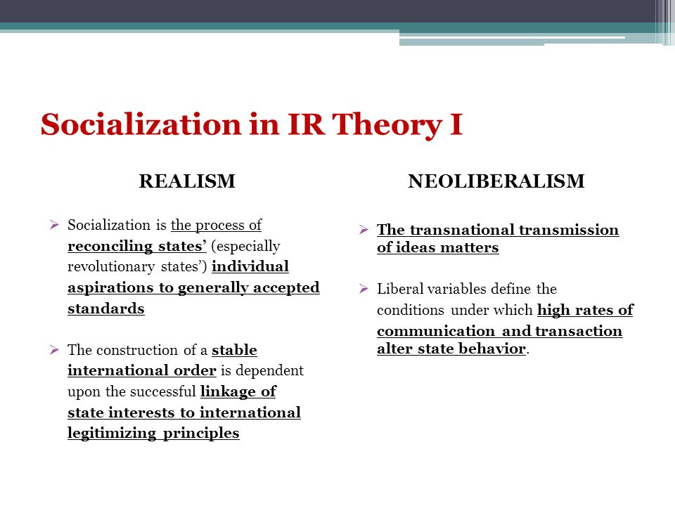 Socialization in IR Theory I