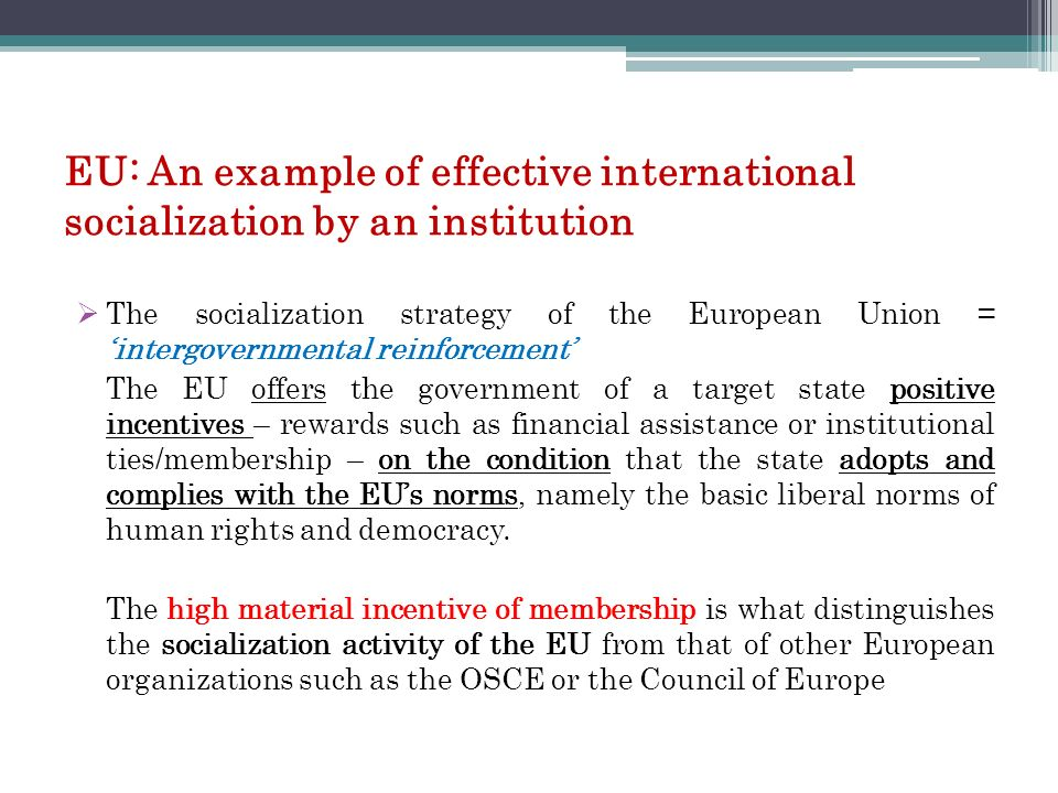 EU: An example of effective international socialization by an institution