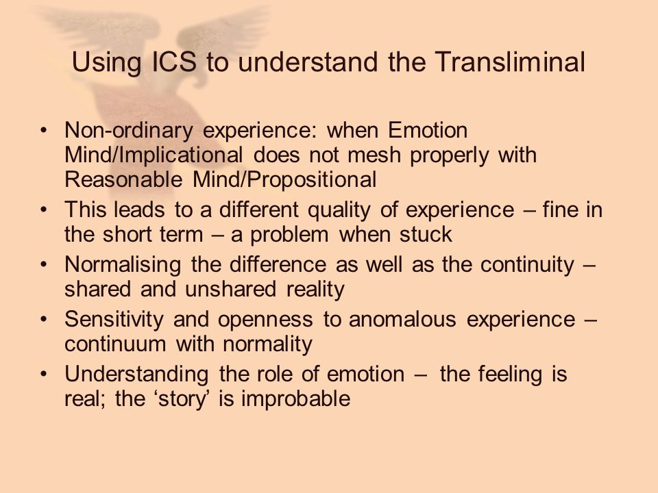 Using ICS to understand the Transliminal