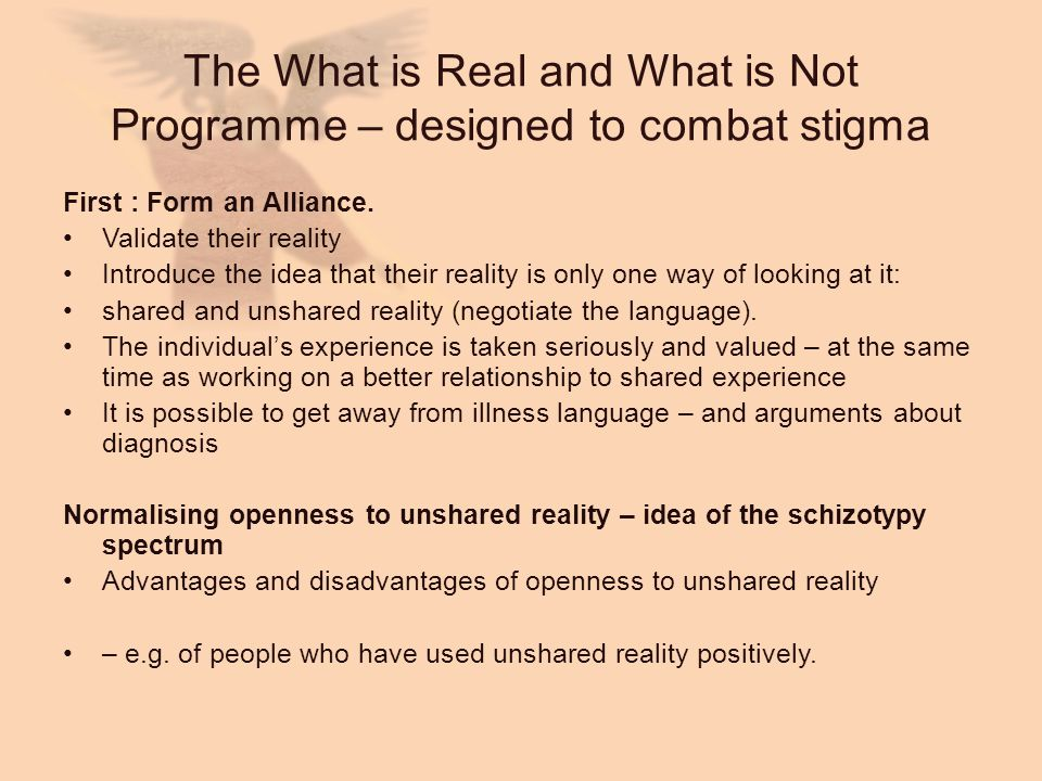 The What is Real and What is Not Programme – designed to combat stigma