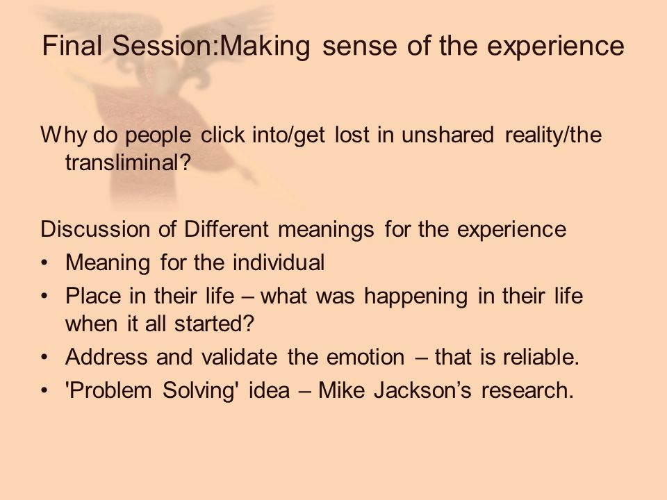 Final Session:Making sense of the experience