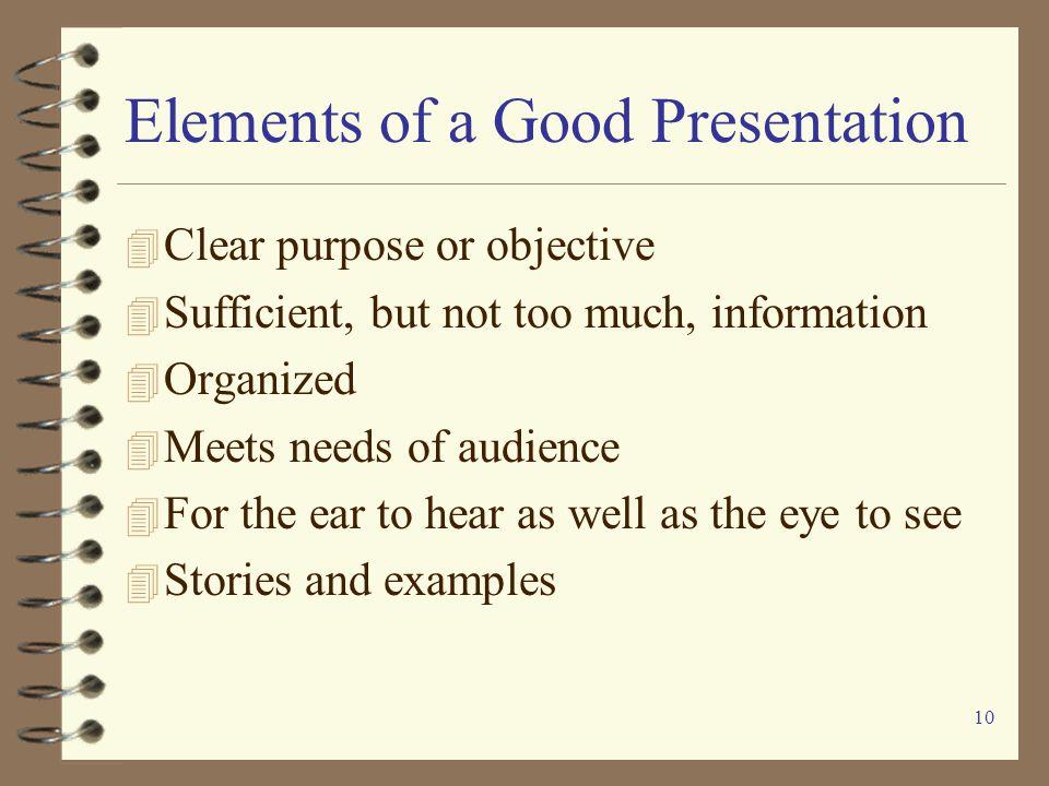 Elements of a Good Presentation