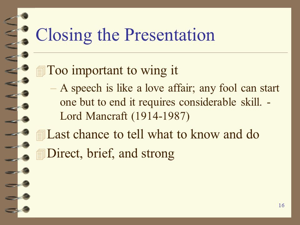Closing the Presentation