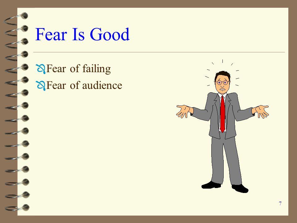 Fear Is Good Fear of failing Fear of audience