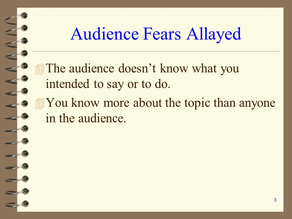 Audience Fears Allayed
