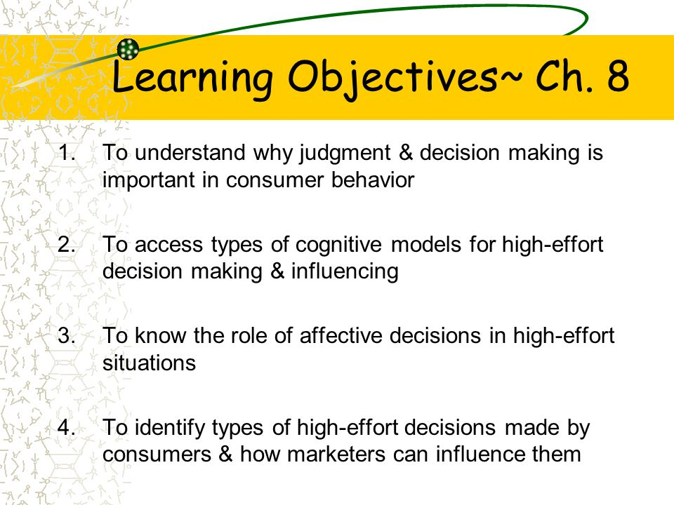 Learning Objectives~ Ch. 8