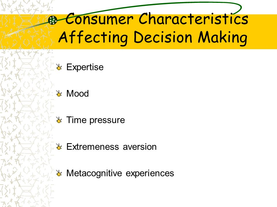 Consumer Characteristics Affecting Decision Making