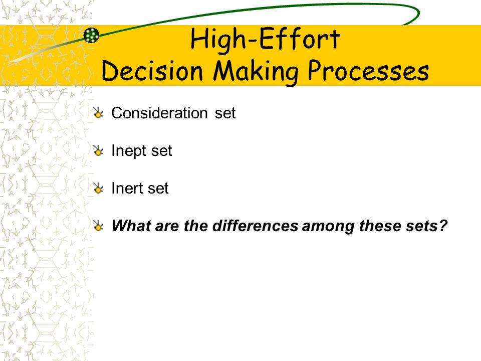 High-Effort Decision Making Processes