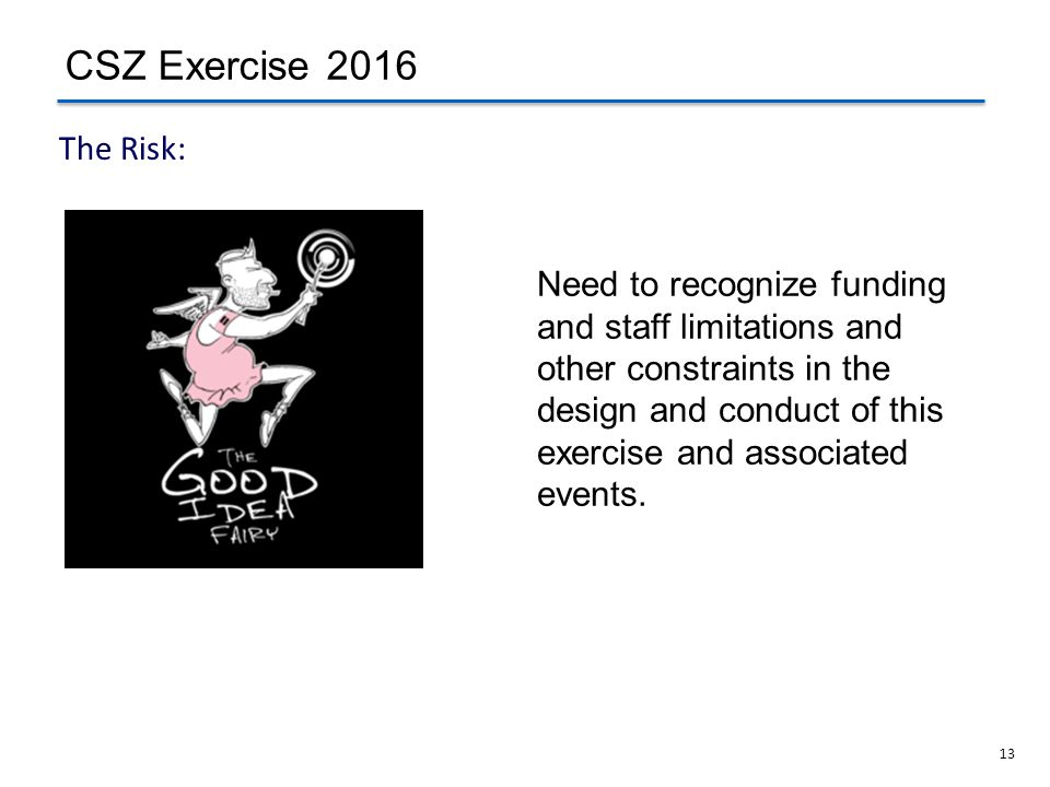 CSZ Exercise 2016 The Risk:
