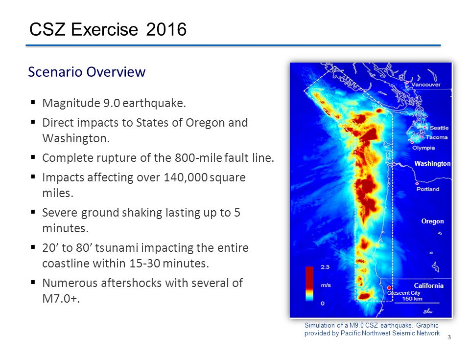 CSZ Exercise 2016 Scenario Overview Magnitude 9.0 earthquake.