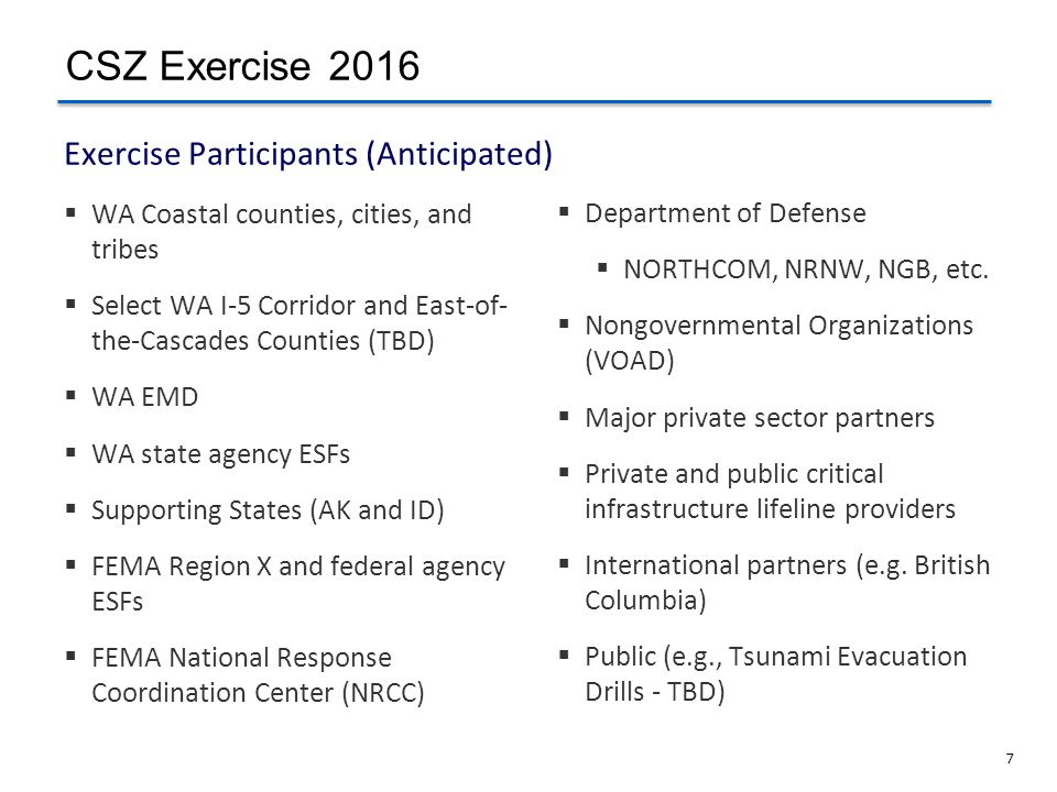 Exercise Participants (Anticipated)