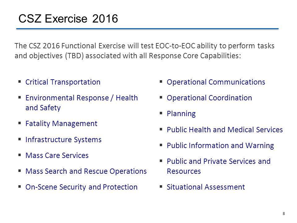 CSZ Exercise 2016