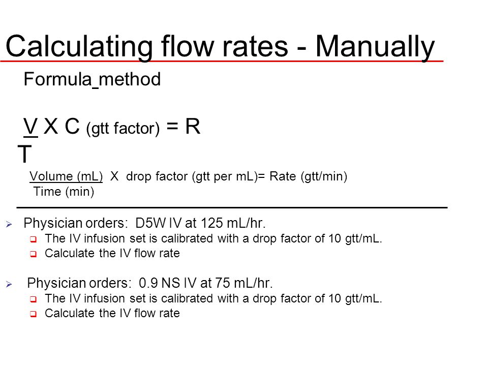 Calculating flow rates - Manually