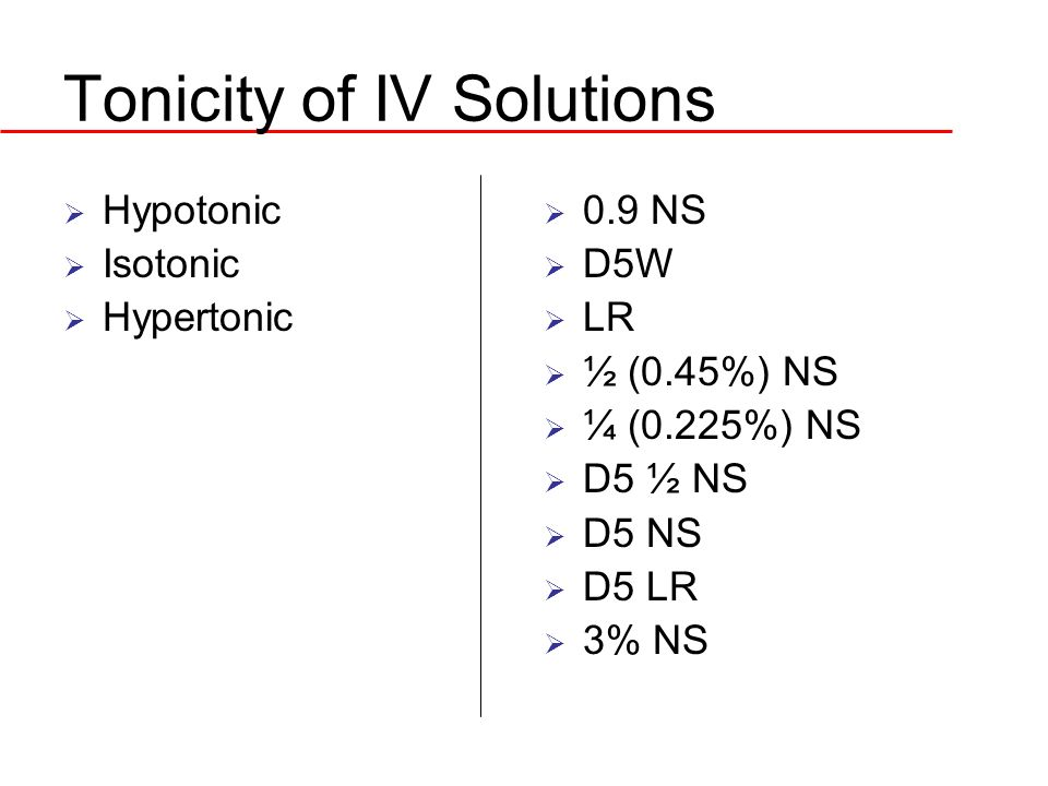 Tonicity of IV Solutions