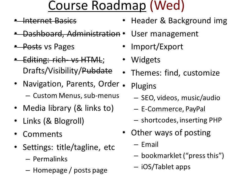 Course Roadmap (Wed) Internet Basics Header & Background img