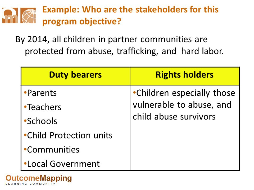 Example: Who are the stakeholders for this program objective