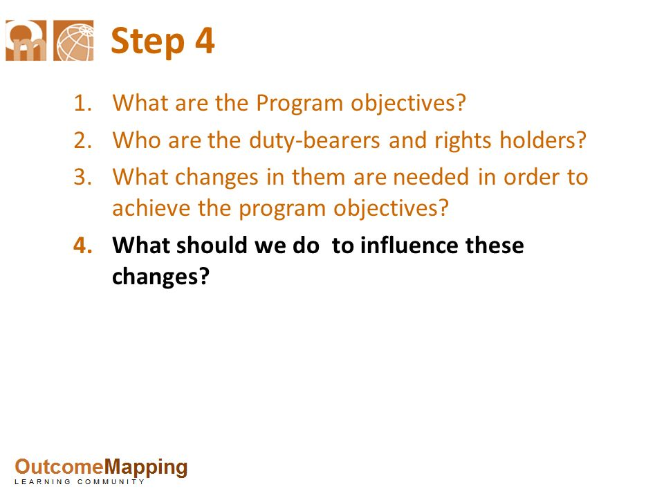 Step 4 What are the Program objectives