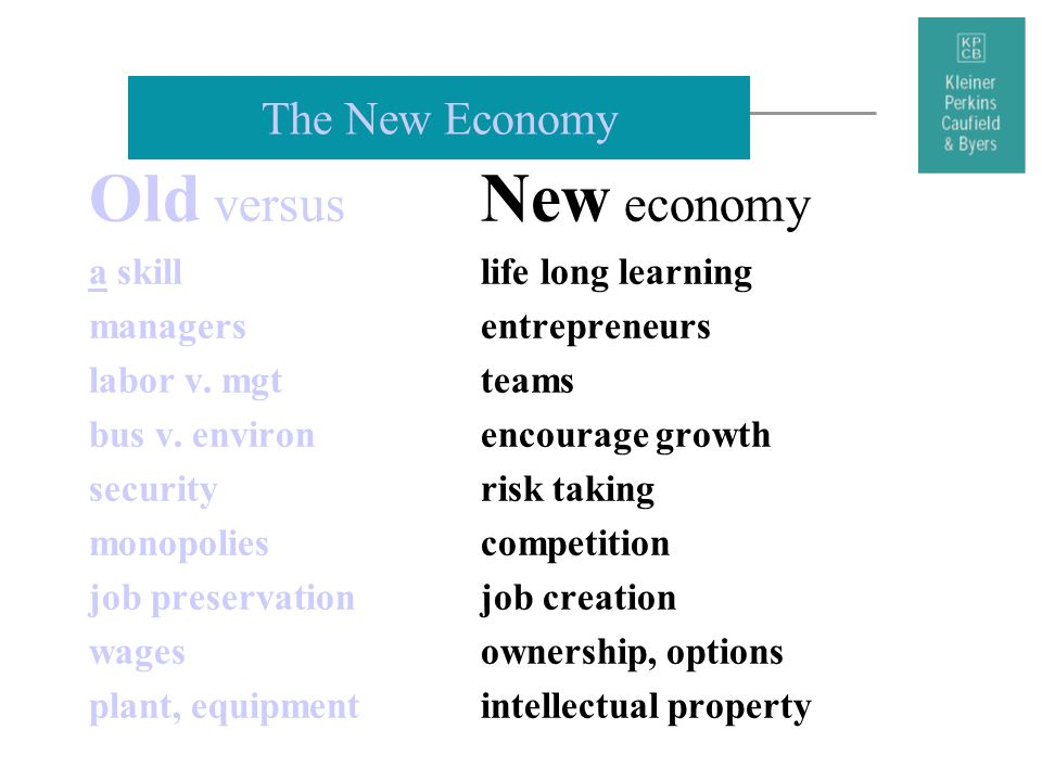 Old versus New economy The New Economy a skill life long learning