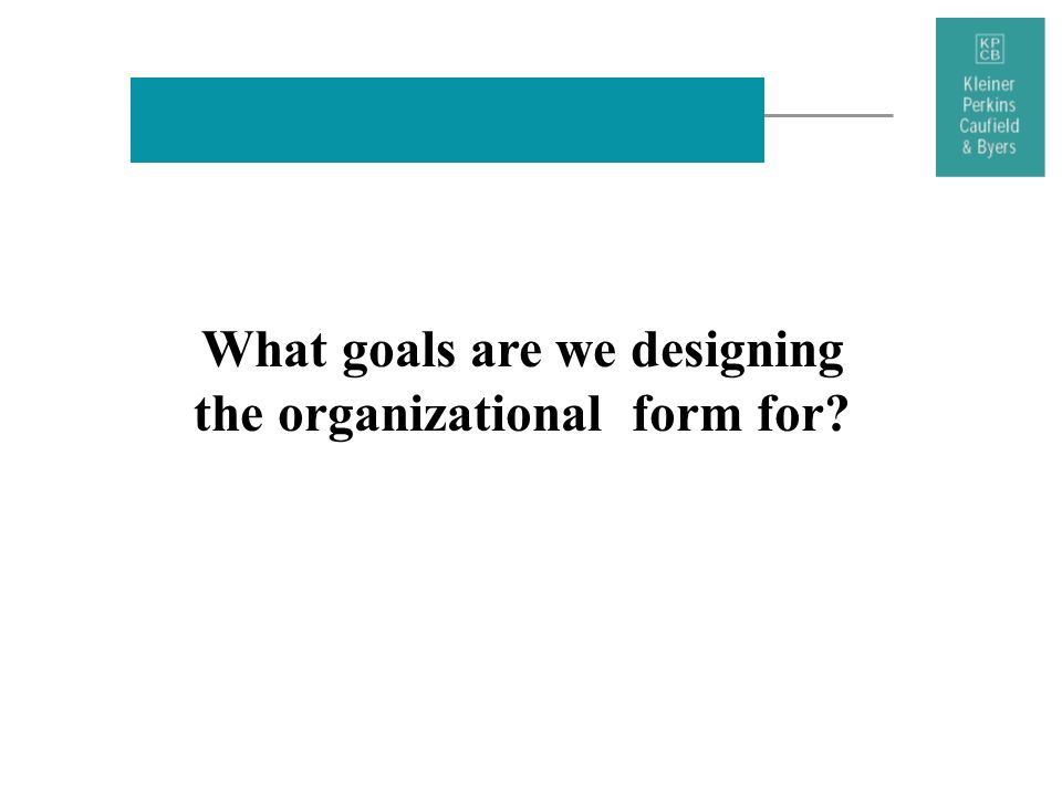 What goals are we designing the organizational form for