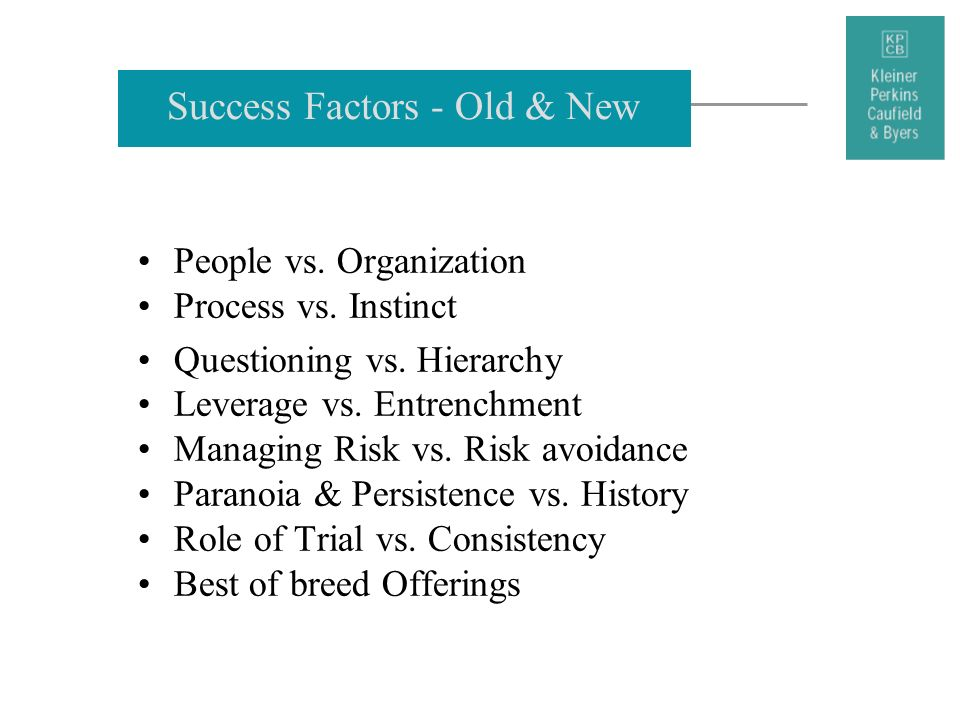 Success Factors - Old & New
