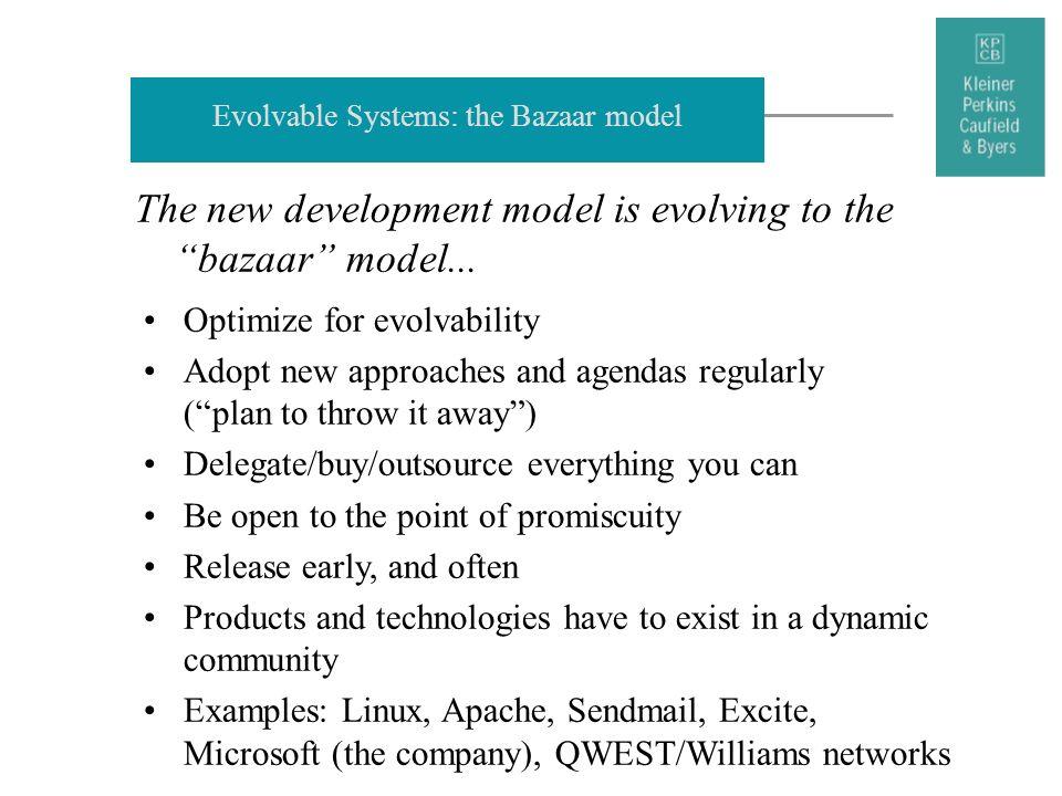 Evolvable Systems: the Bazaar model