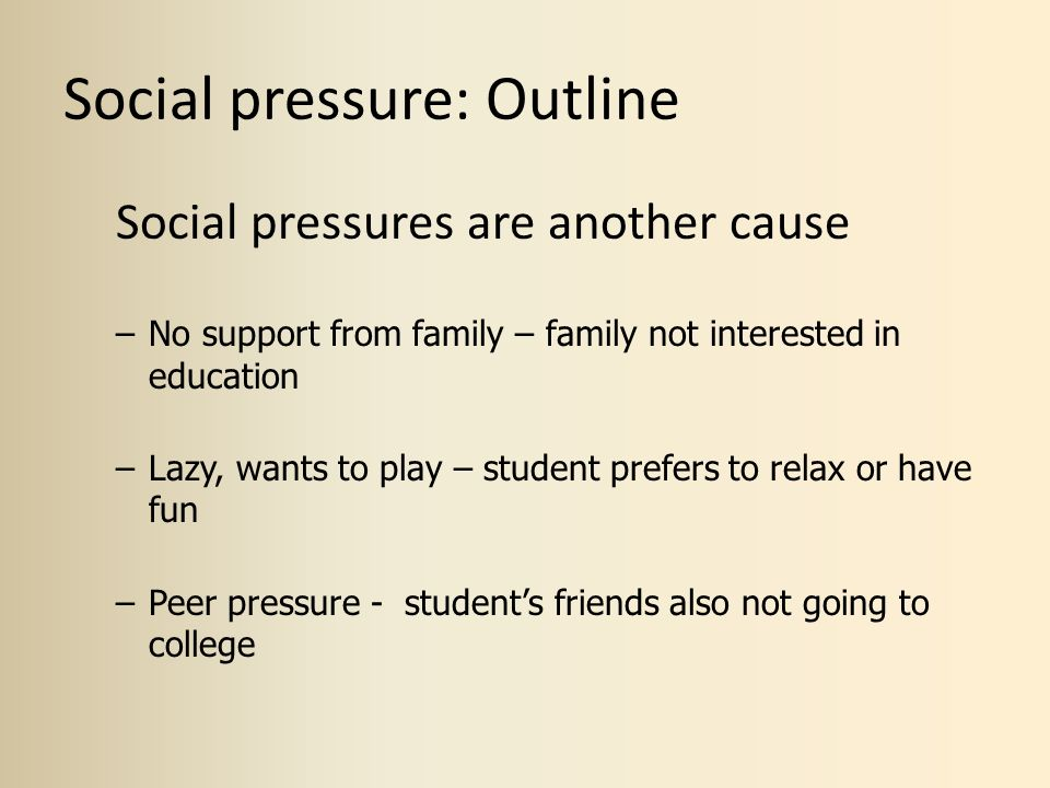 social pressure Social pressures and obligations depression has become one of the most common sicknesses' and one in every five persons suffers from depression at some stage in their lives depression is more than a change of mood' it is a serious illness.
