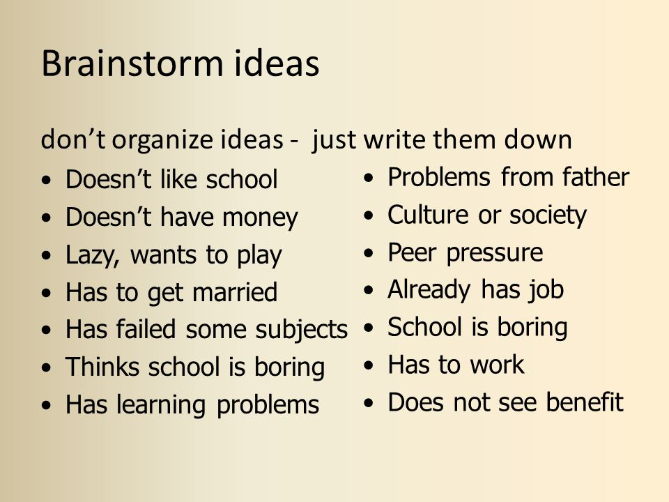 Brainstorm ideas don't organize ideas - just write them down