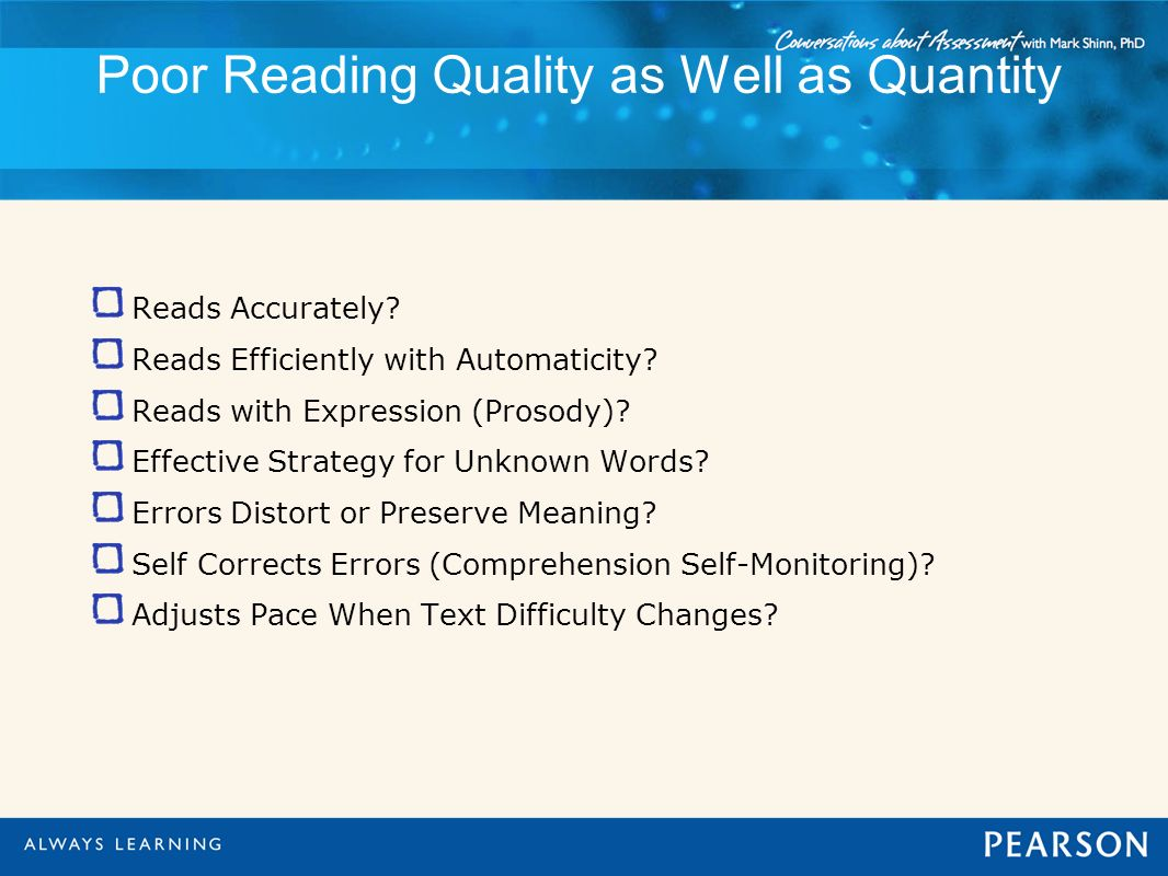 Poor Reading Quality as Well as Quantity