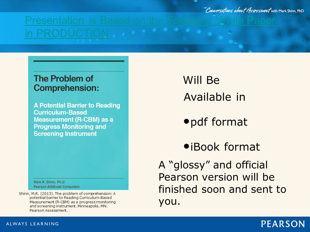 Presentation is Based on the Following White Paper in PRODUCTION