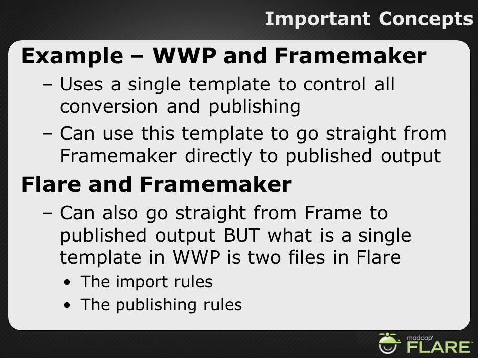 Example – WWP and Framemaker