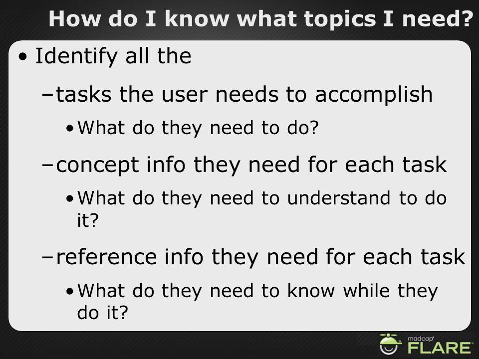 How do I know what topics I need