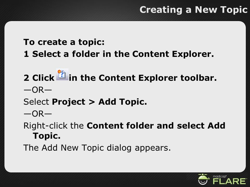 Creating a New Topic
