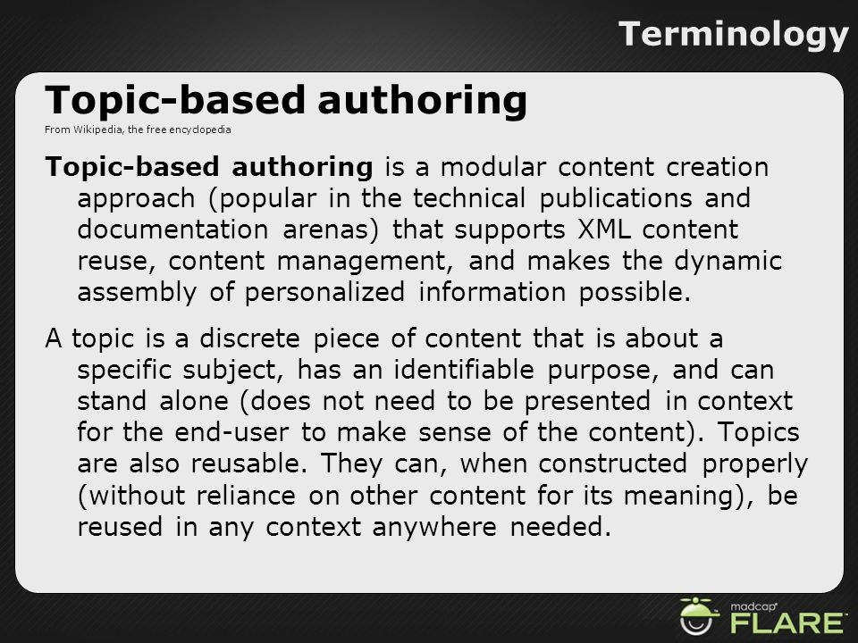 Topic-based authoring