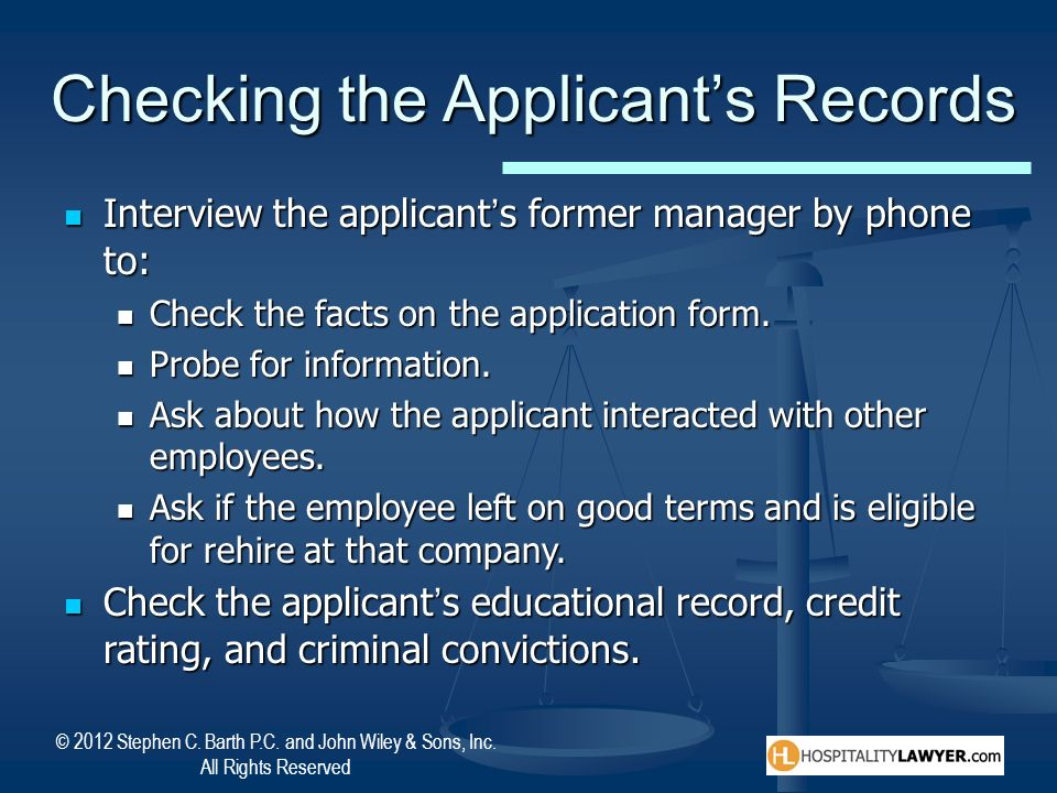 Checking the Applicant's Records